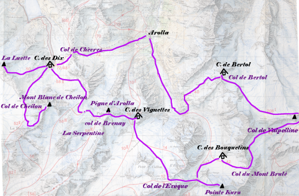 le plan des itinéraires