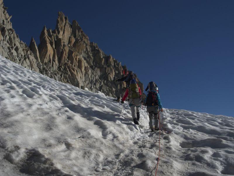 Le groupe approche l'Aiguille